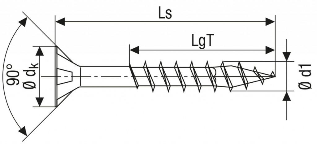 Technische Zeichnung für ABC Spax Schrauben Torx gelb verzinkt Teilgewinde 3,5 mm