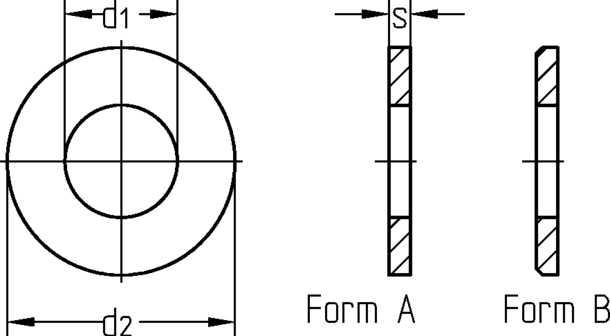 M1,4 Unterlegscheibe DIN 125 A2 Form A vergleichbar ISO 7089