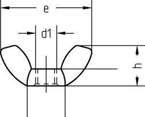 DIN 315 galvanisch verzinkt Flügelmuttern Amerikanische Form Technische Zeichnung