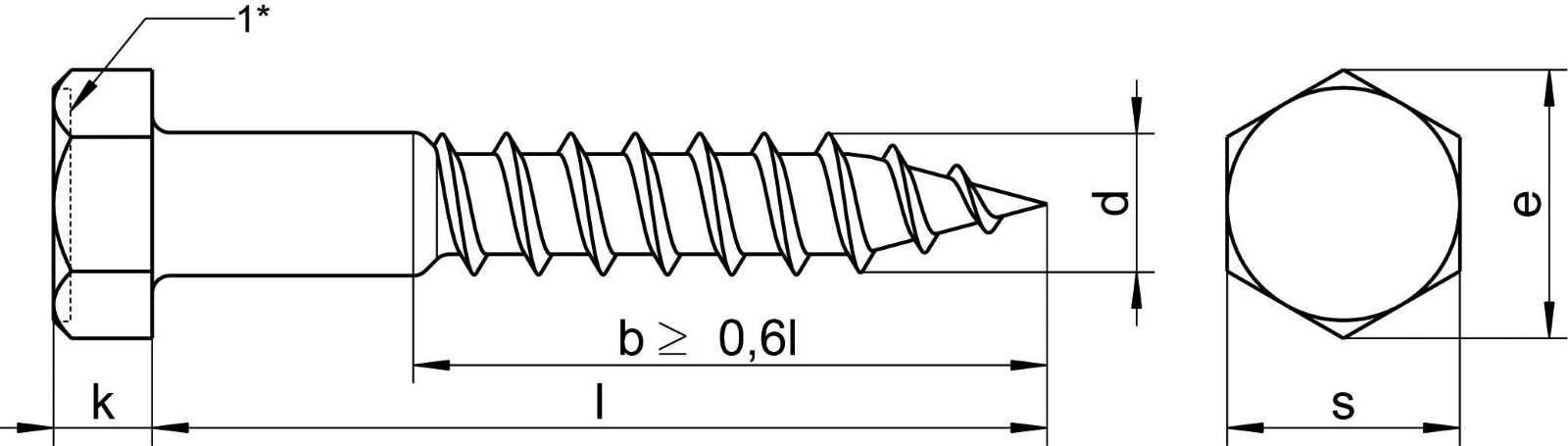 Technische Zeichnung für DIN 571 Technisches Datenblatt für Holzschrauben nach Norm