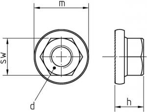 DIN 6923 galvanisch verzinkt Technische Zeichnung