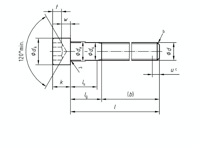 DIN 912 Technische Zeichnung für den Schraubenkopfdurchmesser Foto: Schraube & Mutter 49429 Visbek