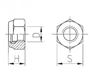 Ganzmetall Sicherungsmuttern DIN 980 galvanisch verzinkt Klasse 10 Form V einteilg Technische Zeichnung