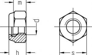 Sicherungsmuttern DIN 982 galvanisch verzinkt Technische Zeichnung