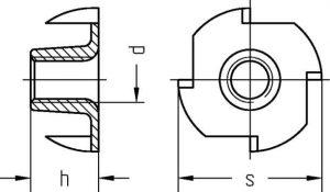 Technische Zeichnung für eine Einschlagmutter DIN 6930 / ISO 6930g mit vier Einschlagkrallen