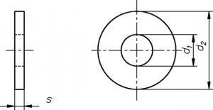 Technische Zeichnung für Große Unterlegscheiben Stahl blank DIN 9021 / DIN EN ISO 7093 Foto: Schraube & Mutter 49429 Visbek