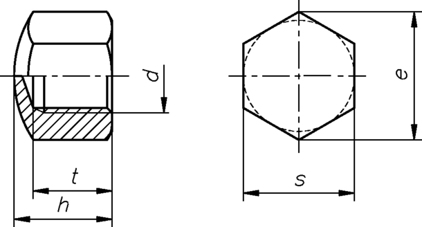Sechskant Hutmuttern DIN 917 galvanisch verzinkt niedrige Form