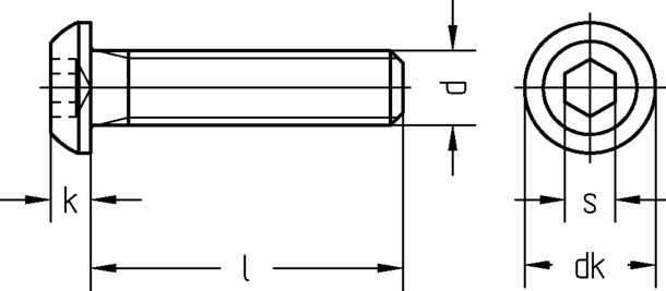 Technische Zeichnung für Flachkopfschrauben / Halbrundkopfschrauben / Linsenkopfschrauben mit Innensechskant ISO 7380-1 M10 schwarz brüniert mit Güte 10.9