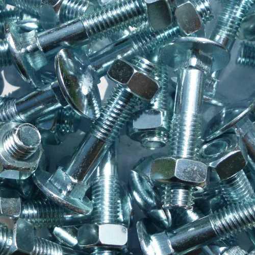 Schlossschrauben DIN 603 / ISO 8677 galvanisch verzinkt M8 mit Muttern