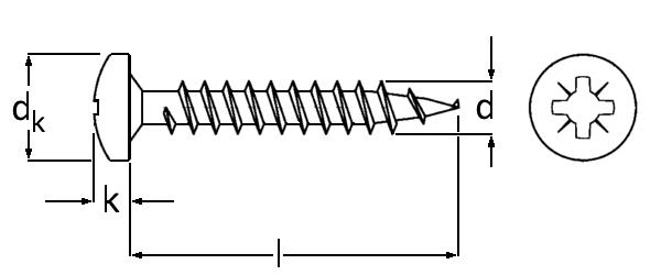 Technische Zeichnung für Spanplattenschrauben PAN-Head verzinkt 3,0 mm Kreuzschlitz Vollgewinde mit Unterkopfverstärkung in Bit-Größe PZ 1 in Schraubenlängen 10 mm, 12 mm, 16 mm, 20 mm, 25 mm oder 30 mm