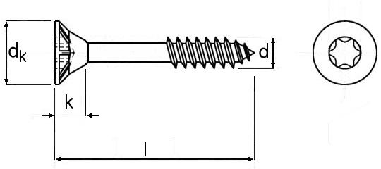 Technische Zeichnung für Spanplattenschrauben Torx gelb verzinkt 5,0 mm Teilgewinde mit Senkkopf und Fräsrippen und Bit-Größe TX 25 in Schraubenlängen 30 mm, 35 mm, 40 mm, 45 mm, 50 mm, 55mm, 60 mm, 70 mm, 80 mm, 90 mm, 100 mm und 120 mm
