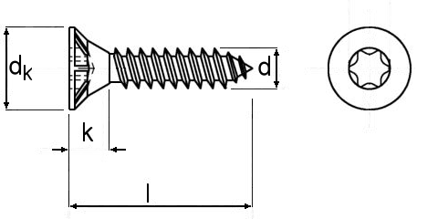 Technische Zeichnung für Spanplattenschrauben Torx gelb verzinkt 4,5 mm Vollgewinde mit Senkkopf und Fräsrippen und Bit-Größe TX 20 in Schraubenlängen 16 mm, 20 mm, 25 mm, 30 mm, 35 mm, 40 mm, 45mm, 50 mm, 60 mm und 70 mm