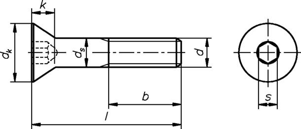Technische Zeichnung für Senkschrauben mit Innensechskant M10 DIN 7991 gelb verzinkt 8.8 ( A2L ) ( A2L )