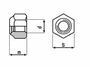 Technische Zeichnung für Sicherungsmuttern DIN 985 schwarz verzinkt ( A2S )