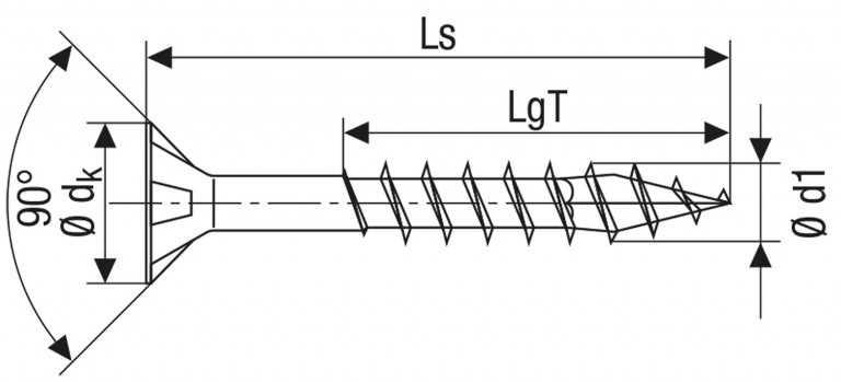 Technische Zeichnung für ABC Edelstahl Spax Schrauben Torx Teilgewinde 4,5 mm