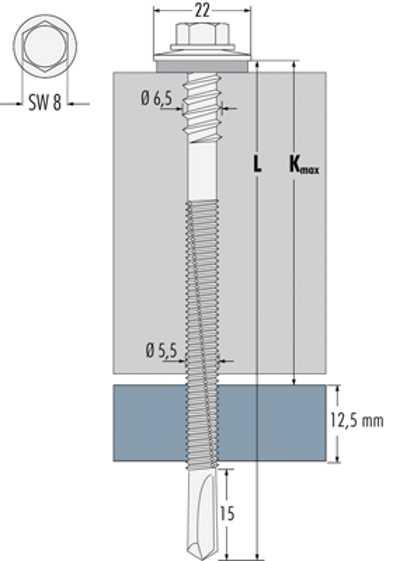 Technische Zeichnung für Bohrschrauben Edelstahl Typ HTL