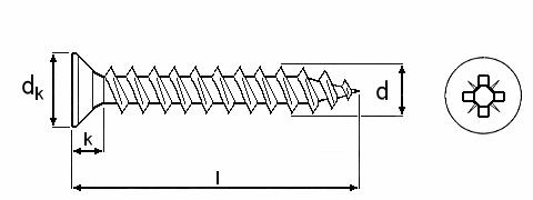 Technische Zeichnung für Spanplattenschrauben Kreuzschlitz gelb verzinkt 4,0 mm Vollgewinde mit Senkkopf und Fräsrippen und Bit-Größe PZ 2 in Schraubenlängen 12 mm, 13 mm, 15 mm, 16 mm, 17 mm, 20 mm, 25 mm, 30 mm, 35 mm, 40 mm, 45 mm, 50 mm und 60 mm