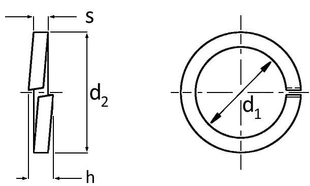 Technische Zeichnung Federringe DIN 7980 galvanisch verzinkt für Zylinderschrauben