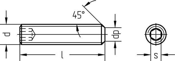 Technische Zeichnung für Gewindestifte mit Kegelkuppe und Innensechskant DIN 913 M5 schwarz brüniert