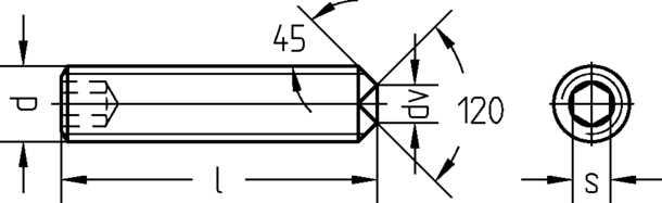 Technische Zeichnung Gewindestifte mit Ringschneide und Innensechskant DIN 916 / DIN EN ISO 4029
