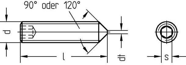 Technische Zeichnung Gewindestifte mit Spitze und Innensechskant DIN 914 / DIN EN ISO 4027