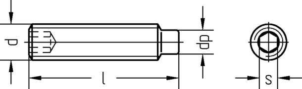 Technische Zeichnung Gewindestifte mit Zapfen und Innensechskant DIN 915 / DIN EN ISO 4028