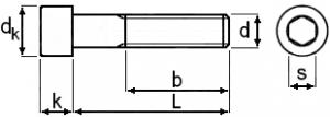 technische zeichnung innenensechskantschrauben din 912 din en iso 4762. Black Bedroom Furniture Sets. Home Design Ideas