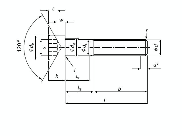 Technische Zeichnung mit allen Maßen und Toleranzen für Innensechskantschrauben M16 DIN 912 schwarz brüniert 10.9 | Foto/Skizze: Schraube & Mutter 49429 Visbek