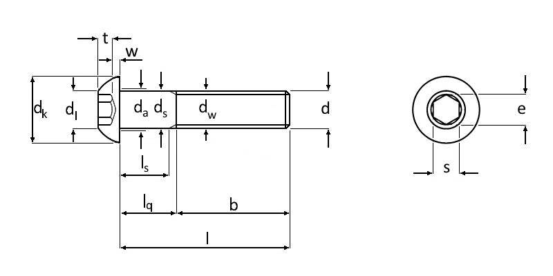Technische Zeichnung Edelstahl A2-70 Linsenkopfschrauben mit Innensechskant ISO 7380-1 M10