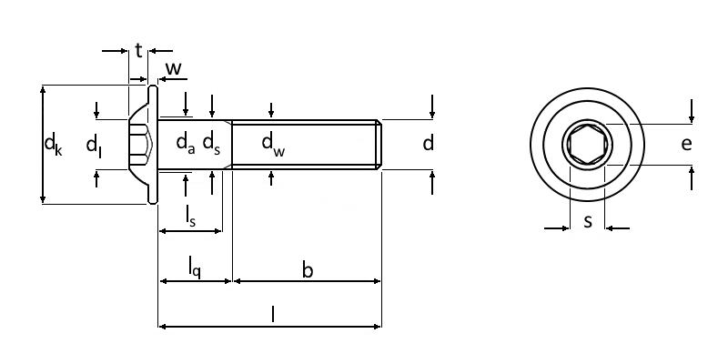 Technische Zeichnung Linsenkopfschrauben mit Innensechskant und Bund ISO 7380-2 M4 schwarz brüniert Güte 010.9
