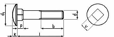 Technische Zeichnung für Schloßschrauben DIN 603 Edelstahl V2A M5