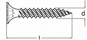 Technische Zeichnung für Schnellbauschrauben Feingewinde Typ TMN phosphatiert