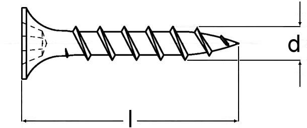 Technische Zeichnung für Schnellbauschrauben Grobgewinde Typ THN phosphatiert