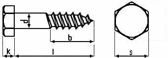 Technische Zeichnung Sechskant Holzschrauben DIN 571 galv. verzinkt 8 mm