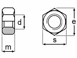 Technische Zeichnung für Sechskantmuttern ISO 4032 schwarz brüniert für die Mutterngrößen von M4 bis M52
