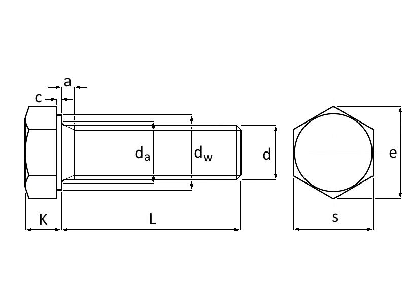 Technische Zeichnung Sechskantschrauben DIN 933 M16 Edelstahl A2-70