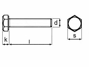Technische Zeichnung für Sechskantschrauben M6 DIN 933 gelb verzinkt