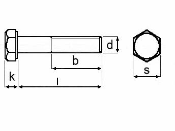 Technische Zeichnung für Sechskantschrauben mit Schaft DIN 931 M12 galvanisch verzinkt 8.8