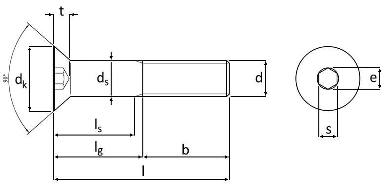 Technische Zeichnung Senkschrauben mit Innensechkant M20 DIN 7991 Edelstahl A4