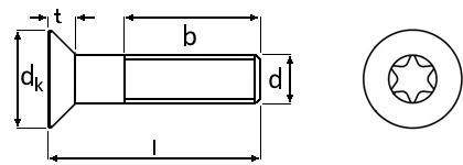 Technische Zeichnung für Senkschrauben mit Torx ISO 10642 M5 galvanisch verzinkt 8.8