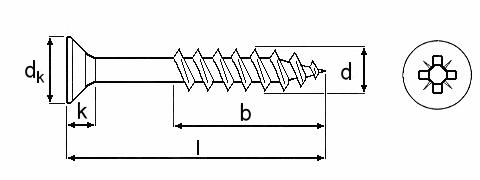 Technische Zeichnung für Spanplattenschrauben Kreuzschlitz gelb verzinkt 4,5 mm Teilgewinde mit Senkkopf und Fräsrippen und Bit-Größe PZ 2 in Schraubenlängen 30 mm, 35 mm, 40 mm, 45 mm, 50 mm, 60 mm, 70 mm und 80 mm