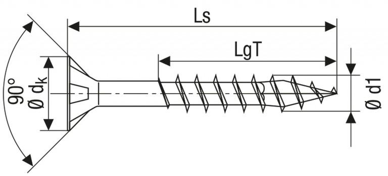 Technische Zeichnung für Spax Holzbauschrauben Torx Teilgewinde 10,0 mm WIROX