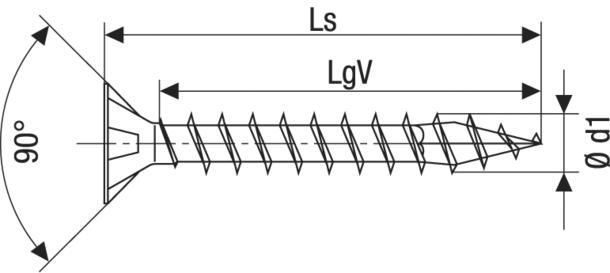 Technische Zeichnung für Spax Schrauben Kreuzschlitz Z Stahl brüniert Vollgewinde 3,5 mm