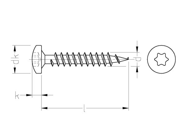 Technische Zeichnung Torx Spanplattenschrauben PAN-Head blank verzinkt 6,0 mm