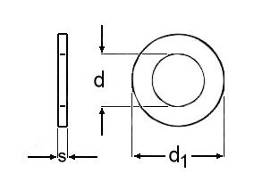 Technische Zeichnung für Unterlegscheiben Stahl blank DIN 125 / DIN EN ISO 7089 Form A ohne Fase