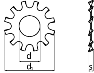 Zahnscheiben DIN 6797 Form A galvanisch verzinkt Außengezahnt